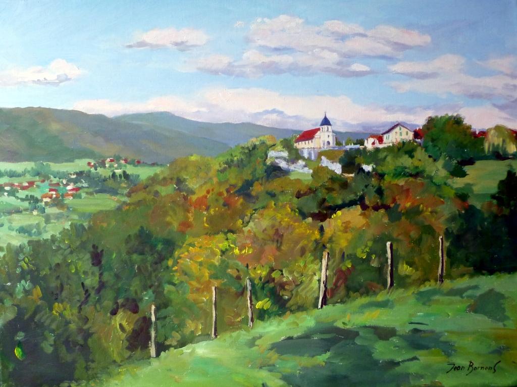 L'église sur son rocher domine la vallée
