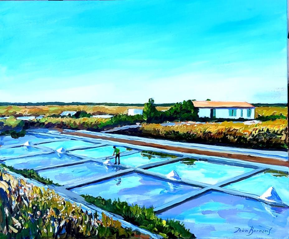 Marais salants sur la route de Loix (Acrylique, 10F)